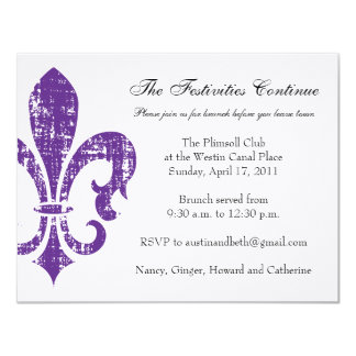 "Wedding Information Card | New Orleans | Purple 4.25"" X 5.5"" Invitation Card"