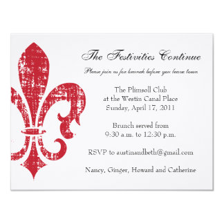 "Wedding Information Card | New Orleans | Red 4.25"" X 5.5"" Invitation Card"