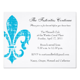 "Wedding Information Card | New Orleans | Turquoise 4.25"" X 5.5"" Invitation Card"