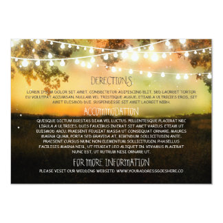"Wedding information cards with string lights 4.5"" x 6.25"" invitation card"