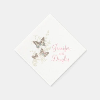 Wedding inked butterflies pink white paper napkin