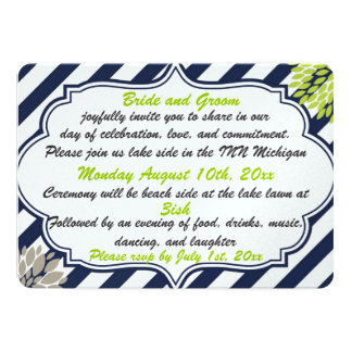 wedding innovation flowers and strips 5x7 paper invitation card