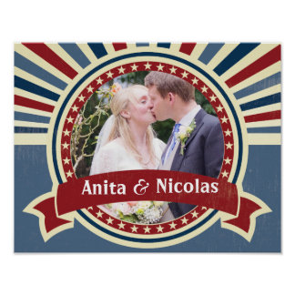 Wedding insert your photo blue red vintage poster