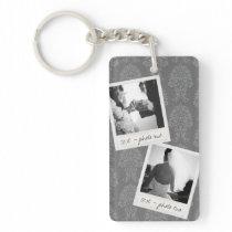 Wedding Instagram 2 Photos Retro frame Custom Text Keychain