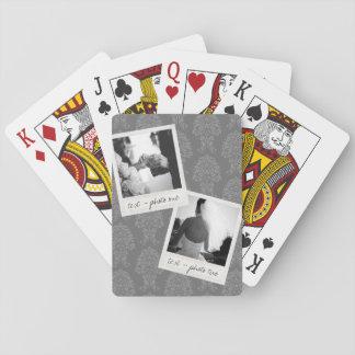 Wedding Instagram 2 Photos Retro frame Custom Text Poker Cards