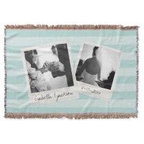 Wedding Instagram Collage photo frames Custom Text Throw Blanket