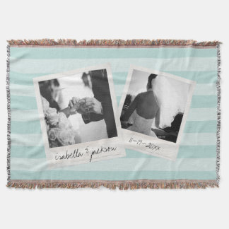 Wedding Instagram Collage photo frames Custom Text Throw Blanket
