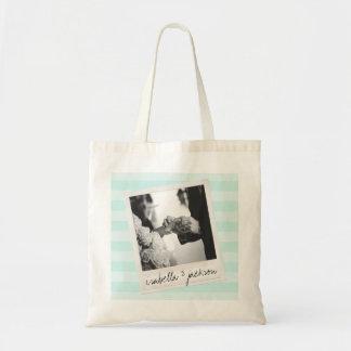Wedding Instagram Photo Retro frame Custom Text Budget Tote Bag