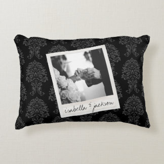 Wedding Instagram Photo Retro frame Custom Text Decorative Pillow