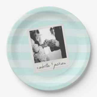 Wedding Instagram Photo Retro frame Custom Text 9 Inch Paper Plate