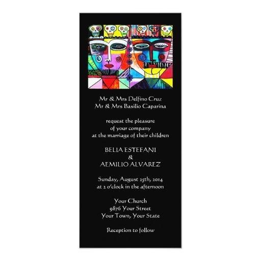 Wedding Invit (slim rectangle) Day Of The Dead 4x9.25 Paper Invitation Card