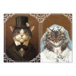 Cute vintage Victorian Cats Wedding Invitations
