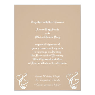 Wedding invitation 2 hearts 2 rings two side print