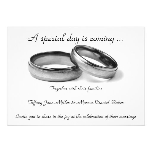 Wedding Invitation And Black White Wedding Rings 5 X 7 Invi