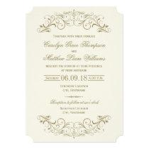 Wedding Invitation   Antique Gold Flourish