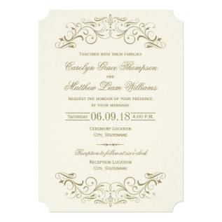 Wedding Invitation | Antique Gold Flourish at Zazzle