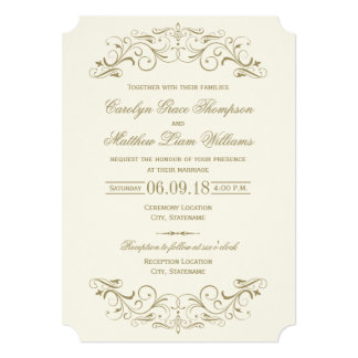 Wedding Invitation | Antique Gold Flourish
