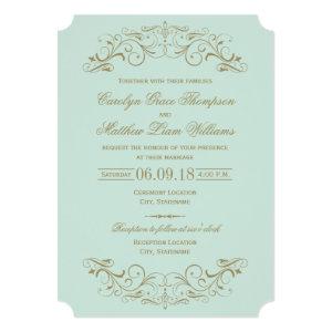 Wedding Invitation | Antique Gold Flourish 5