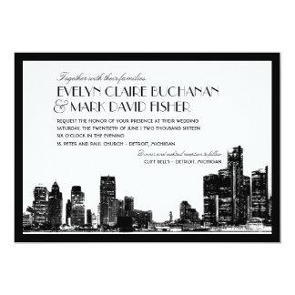 "Wedding Invitation | Art Deco Detroit Skyline 5"" X 7"" Invitation Card"