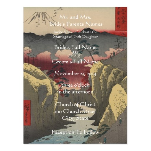 Wedding Invitation Artist Hiroshige Utagawa Postcard