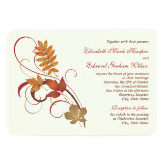 "Wedding Invitation | Autumn Fall Leaves 5"" X 7"" Invitation Card"