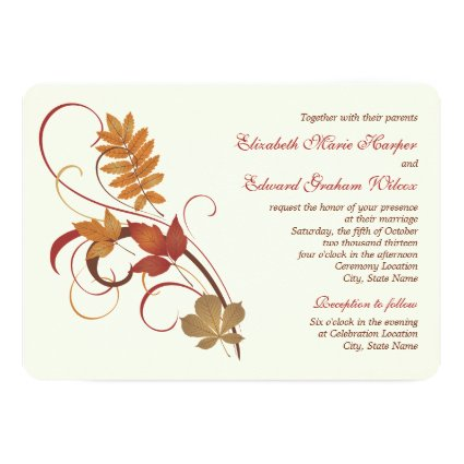 "Wedding Invitation | Autumn Fall Leaves 5"" X 7"" Invitation Card"