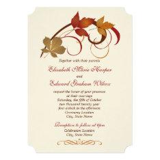 Wedding Invitation | Autumn Fall Leaves at Zazzle