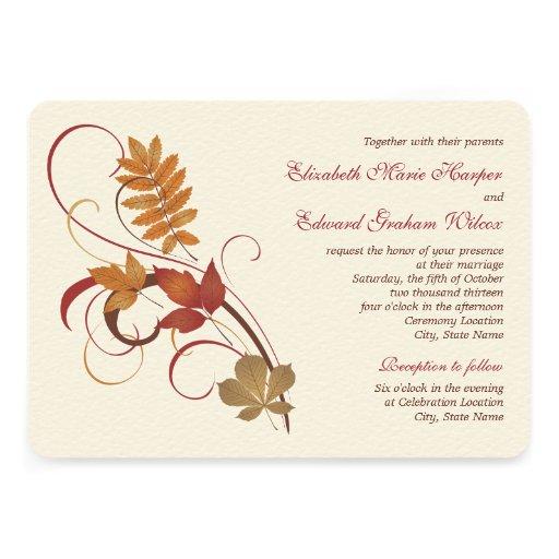 Wedding Invitation | Autumn Fall Leaves