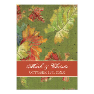 Wedding Invitation Autumn Grape Leaf Batik