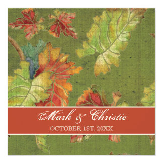 Wedding Invitation Autumn Grape Leaf Batik