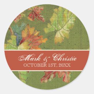 Wedding Invitation Autumn Grape Leaf Batik Classic Round Sticker