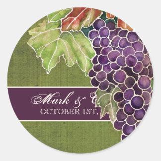 Wedding Invitation Autumn Grape Leaf Classic Round Sticker