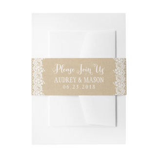 Wedding Invitation Bellyband Wrap | Lace and Kraft