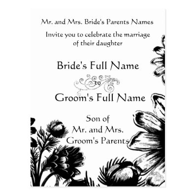 Wedding Invitation-Black and White Vintage Flowers Postcard