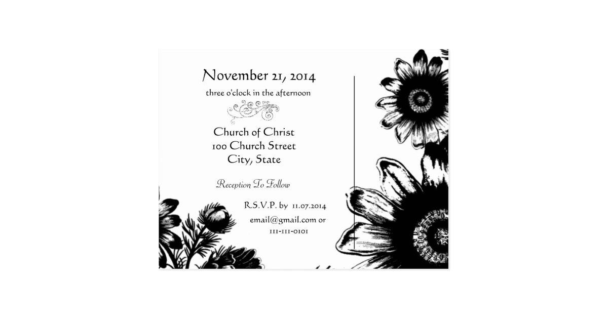 Wedding Invitation Black And White Vintage Flowers Postcard
