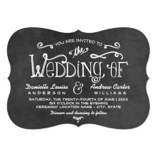 "Wedding Invitation | Black Chalkboard Charm 5"" X 7"" Invitation Card"