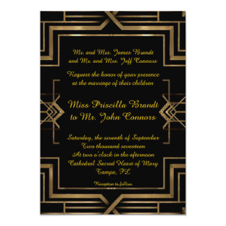 Wedding invitation black&gold,great-Gatsby,script