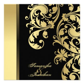 Wedding Invitation Black & Gold Shimmer Floral