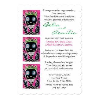 Wedding Invitation Black King Sugar Skull Angel