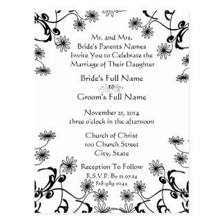 Wedding Invitation Black On White Wild Flowers Post Cards