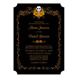 Wedding Invitation - Black & Orange Skull Design