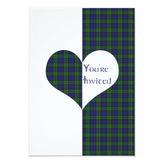 Wedding Invitation Black Watch Tartan Love Hearts