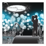 "Wedding Invitation Blue Monogram Couple Love Kiss 5.25"" Square Invitation Card"