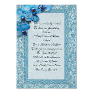 "Wedding Invitation blue orchids 5"" X 7"" Invitation Card"