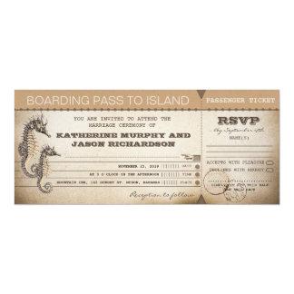 "wedding invitation boarding pass tickets 4"" x 9.25"" invitation card"