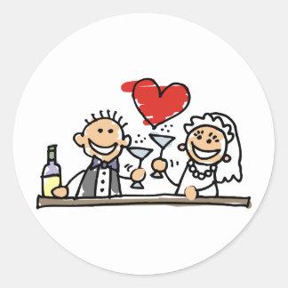 Wedding Invitation Bride Groom RSVP Save The Date Classic Round Sticker