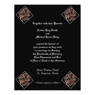Wedding invitation brown deco  two side print