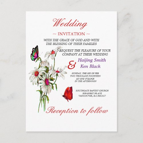 Wedding Invitation Butterflies And Red Daisies