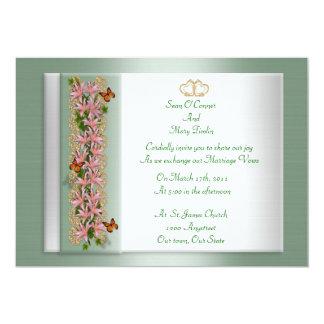 Wedding invitation butterflies Asian lilies