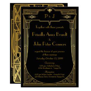 Wedding Invitation Card Great Gatsby Gold Black 2